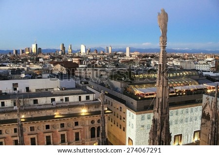 Milan,  view from the Duomo - stock photo