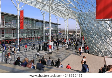 MILANO, ITALY - APRIL 10, 2014: Panoramic view of entrance,  Salone del Mobile, international home furnishing and accessories design exhibition in Milano, Italy. - stock photo