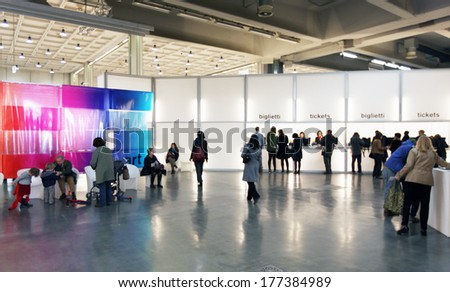 MILANO, ITALY - APRIL 07, 2013: People at the entrance of MiArt, international exhibition of modern and contemporary art April 07, 2013 in Milan, Italy.