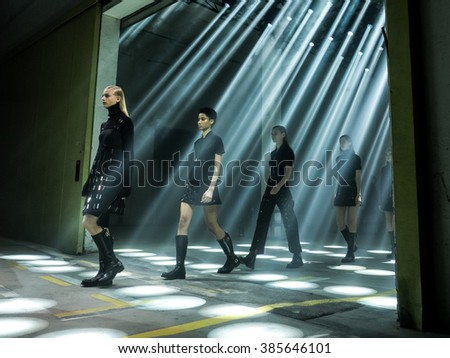 MILANO, ITALY - FEBRUARY 26, 2016: Models on the catwalk during the Diesel Black Gold show for the presentation of Fall Winter 2016/2017 collection at Milan Fashion Week. - stock photo