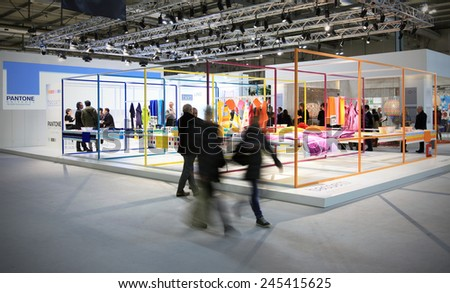 MILANO, ITALY - JANUARY 19, 2015: People visit stands at HOMI, international fair exhibition of lifestyle and interiors design, last trade show before nex EXPO in Milano, Italy. - stock photo