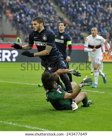 MILANO, ITALY-JANUARY 11, 2015: soccer player mauro icardi and goalkeeper mattia perin in action at san siro stadium during italian serie A soccer match FC Internazionale vs Genoa CFC, in Milan. - stock photo