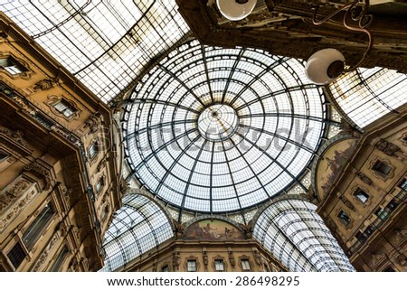 MILANO, ITALY - JUNE 6: Views of the Milan Shopping Mall Galleria Vittorio Emanuele on June 6, 2011. Milan is the second-most populous city in Italy and the capital of Lombardy.