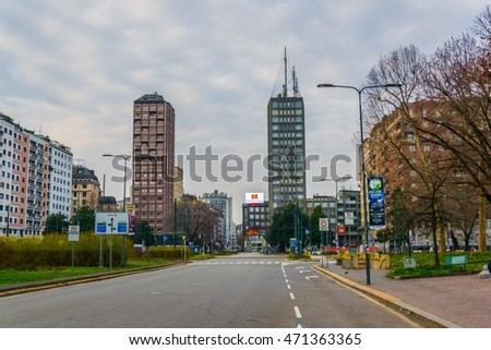 MILANO, ITALY, MARCH 13, 2016: view of skyscrapers of a business center situated in the porta nuova district of milano, italy.