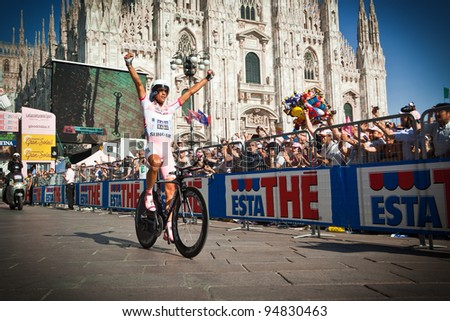 MILANO, ITALY - MAY 29: Cyclist Alberto Contador competes during the 21th Stage of 2011 Giro d'Italia, an individual time trial stage, on May 29, 2011 in Milano, Italy - stock photo