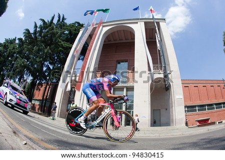 MILANO, ITALY - MAY 29: Cyclist Alessandro Spezialetti competes during the 21th Stage of 2011 Giro d'Italia, an individual time trial stage, on May 29, 2011 in Milano, Italy - stock photo