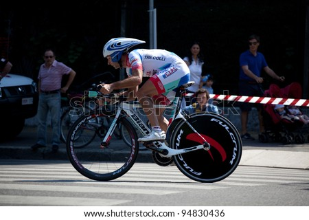 MILANO, ITALY - MAY 29: Cyclist Angel Vicioso competes during the 21th Stage of 2011 Giro d'Italia, an individual time trial stage, on May 29, 2011 in Milano, Italy - stock photo