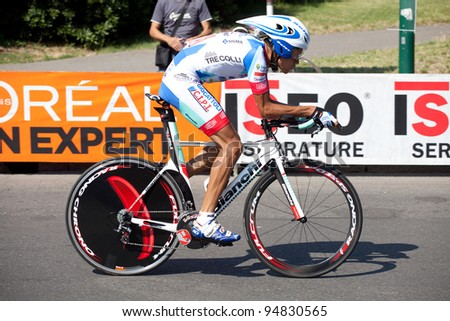 MILANO, ITALY - MAY 29: Cyclist Carlos Jose' Ochoa competes during the 21th Stage of 2011 Giro d'Italia, an individual time trial stage, on May 29, 2011 in Milano, Italy - stock photo