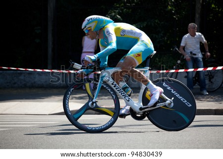 MILANO, ITALY - MAY 29: Cyclist Josep Jufre Pou competes during the 21th Stage of 2011 Giro d'Italia, an individual time trial stage, on May 29, 2011 in Milano, Italy - stock photo