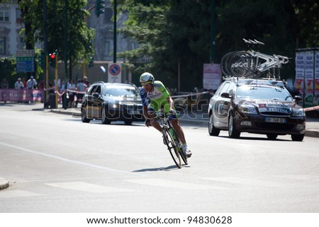 MILANO, ITALY - MAY 29: Cyclist Sylvester Szmyd competes during the 21th Stage of 2011 Giro d'Italia, an individual time trial stage, on May 29, 2011 in Milano, Italy - stock photo