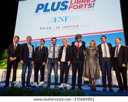 MILANO, JANUARY 28, 2016: Members of the ENF (Europe of Nations and Freedom) during the opening of the two days party congress at the MiCo center in Milan. - stock photo