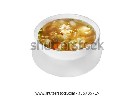 Mildly seasoned soup that Consisting of pork, tofu, carrots - stock photo
