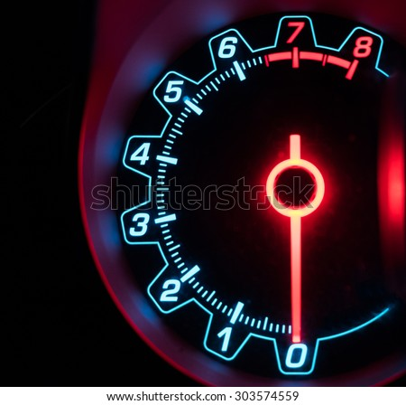 Mile car needle number glowing - stock photo