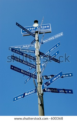 Mile signpost of Los Angeles' sister cities around the world.