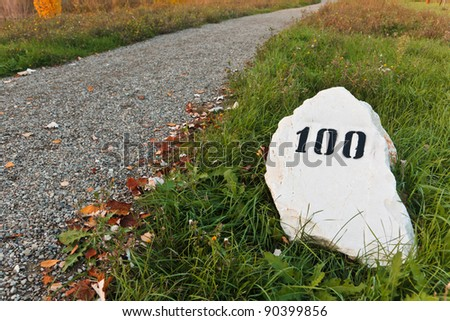Mile stone in the grass near the road, with print number hundred sign - stock photo