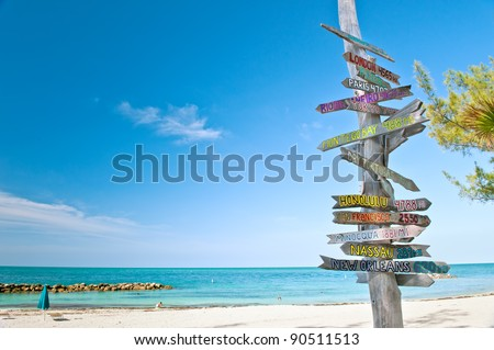 mileage signpost on key west florida beach, with copy space.  this is updated; see image number 93626098 - stock photo