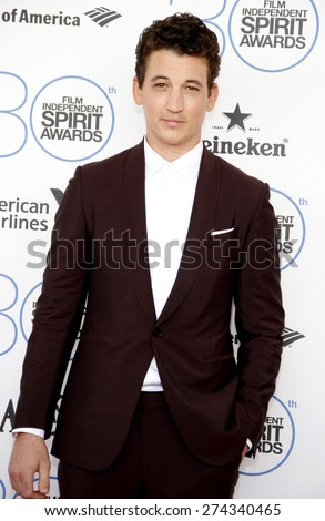 Miles Teller at the 2015 Film Independent Spirit Awards held at the Santa Monica Beach in Santa Monica on February 21, 2015.