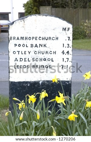Milestone, Bramhope, near Leeds, West Yorkshire, UK - stock photo