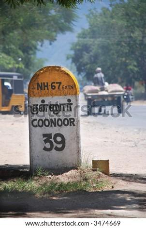 Milestone, Highway NH 67, to Coonoor - stock photo