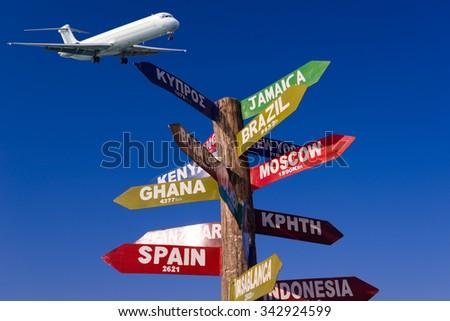 Milestone  showing distances to major cities - stock photo