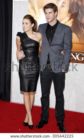 Miley Cyrus and Liam Hemsworth at the Los Angeles premiere of 'The Last Song' held at the ArcLight Cinemas in Hollywood, USA on March 25, 2010.
