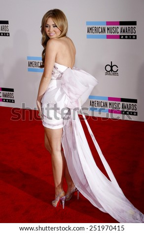 Miley Cyrus at the 2010 American Music Awards held at the Nokia Theatre L.A. Live in Los Angeles on November 21, 2010.