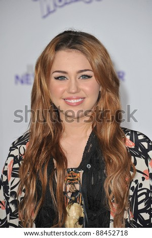 "Miley Cyrus at the Los Angeles premiere of her new movie ""Justin Bieber: Never Say Never"" at the Nokia Theatre LA Live. February 8, 2011  Los Angeles, CA Picture: Paul Smith / Featureflash - stock photo"