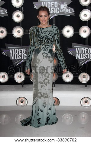 Miley Cyrus at the 2011 MTV Video Music Awards Arrivals, Nokia Theatre LA Live, Los Angeles, CA 08-28-11