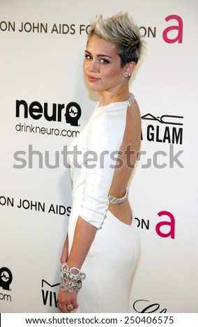 Miley Cyrus at the 21st Annual Elton John AIDS Foundation Oscar Party held at the Pacific Design Center in West Hollywood on February 24, 2013.  - stock photo