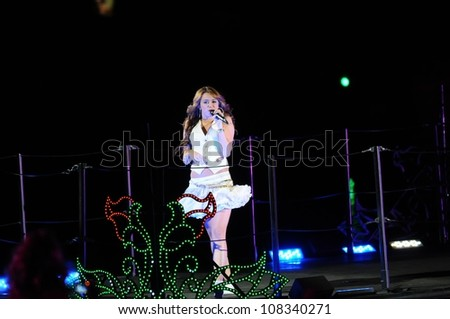 Miley Cyrus  at the Sweet 16 Celebration for Miley Cyrus. Disenyland, Anaheim, CA. 10-05-08 - stock photo