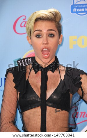 Miley Cyrus at the 2013 Teen Choice Awards at the Gibson Amphitheatre, Universal City, Hollywood. August 11, 2013  Los Angeles, CA - stock photo