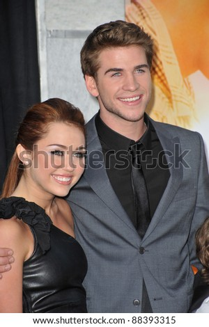 "Miley Cyrus & Liam Hemsworth at the world premiere of their new movie ""The Last Song"" at the Arclight Theatre, Hollywood. March 25, 2010  Los Angeles, CA Picture: Paul Smith / Featureflash"