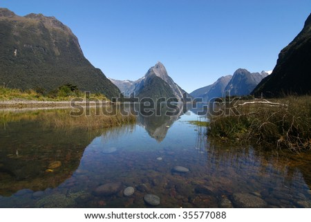 Milford Sound and Mitre Peak in New Zealand
