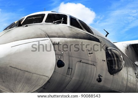 Military aircraft close up, aviation background