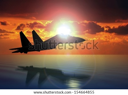 Military Aircraft Flying on Bright Sun - stock photo
