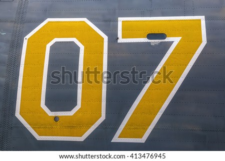 Military aircraft onboard number. Texture.
