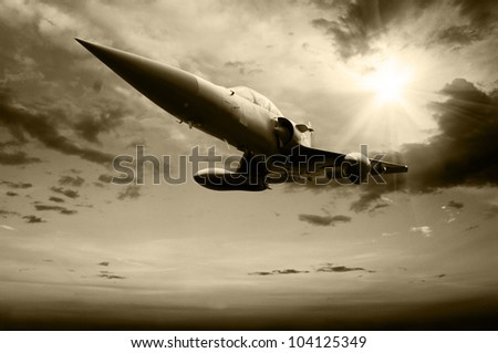 Military airplan on the speed - stock photo