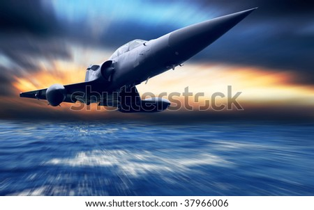 Military airplane low over the sea - stock photo