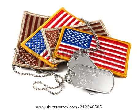 Military American Flag patches and dog tags