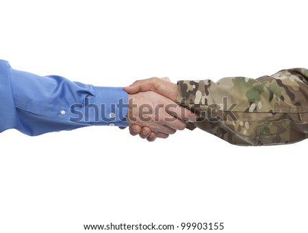 Military and Businessman Handshake - stock photo