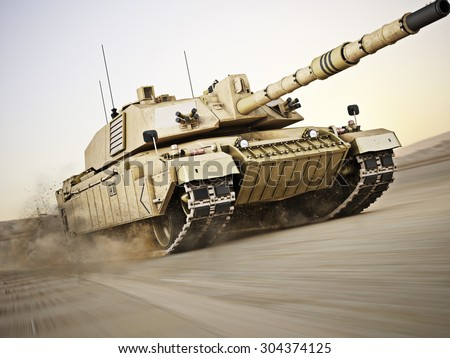 Military armored tank  moving at a high rate of speed with motion blur over sand. Generic photo realistic 3d model scene. - stock photo