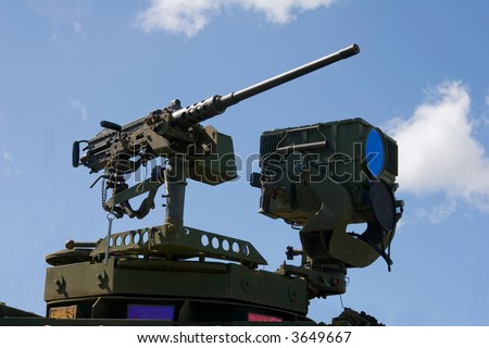 Military Army Stryker light armored brigade vehicle machine gun and thermal imager - stock photo