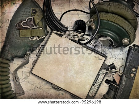 Military aviation, retro background - stock photo
