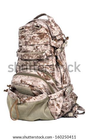 Military backpack in isolated
