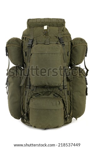 Military backpack isolated on white. - stock photo