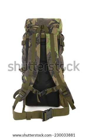 Military backpack isolated on white. Medium size. Back view. - stock photo