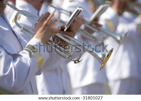 Military band performing at the festival - stock photo