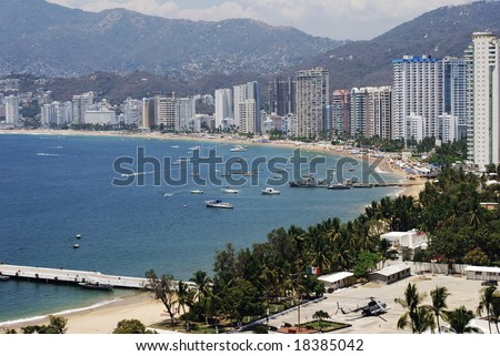 Military base near Golden Zone -  downtown in Acapulco, Mexico. - stock photo