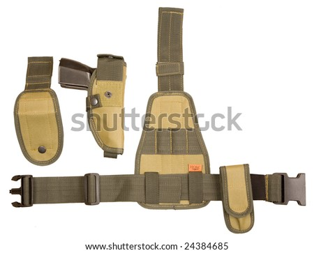 Military belt and holster isolated on white - stock photo