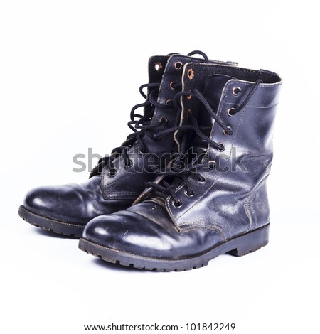 Military  boots at Through use. - stock photo